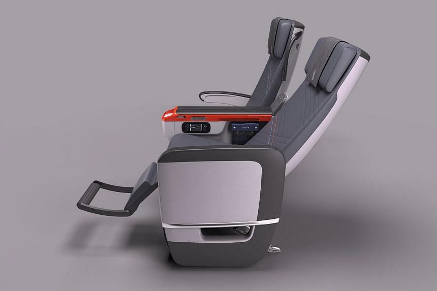 Each premium economy seat, which comes with a calf-rest and foot-bar, has a width ranging between 18.5 and 19.5 inches (47-49.5cm) with an eight-inch recline for more ease and comfort, says SIA. -- PHOTO: SINGAPORE AIRLINES