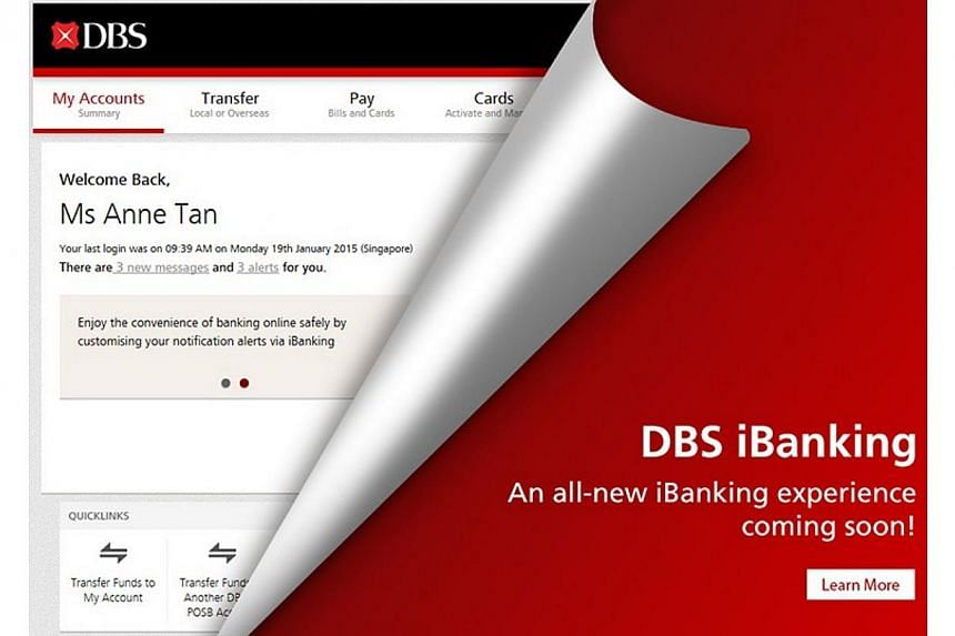 DBS will launch a new website on Wednesday, Feb 4, 2015, with new features that deliver customised content to online banking customers. -- PHOTO: DBS/TWITTER