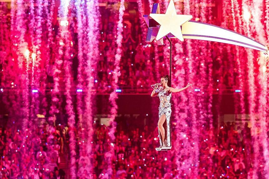 Recording artist Katy Perry flies high during the finale of her half-time performance at the annual Super Bowl in Arizona in the United States on Sunday, helping lift the American football championship's four-hour television event on Sunday to a &nbs