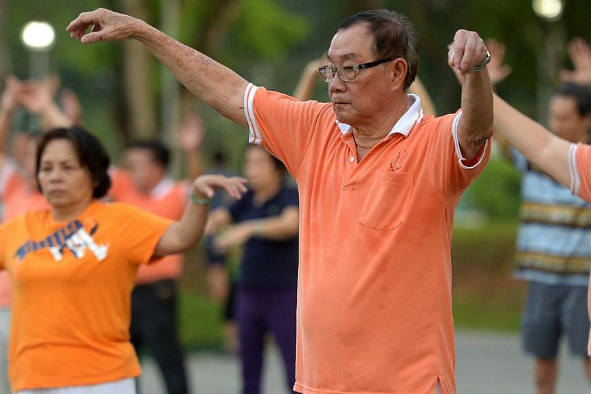 A group of senior citizens exercising at Bishan Park. Reforms that will strengthen CPF in the long run should help younger workers build up their retirement nest egg and guarantee contributing workers the prospect of an adequate retirement, says Assi