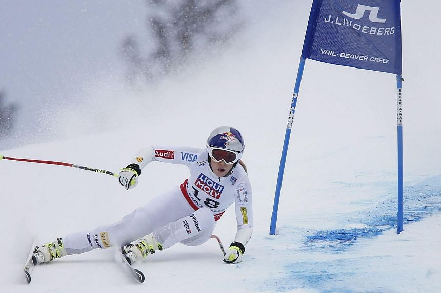 Lindsey Vonn of the United States during her run in the Ladies Super-G at the FIS Alpine World Ski Championships in Beaver Creek, Colorado on Tuesday. -- PHOTO: EPA