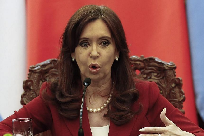 Argentinian President Cristina Kirchner delivering a statement during a signing ceremony with Chinese President Xi Jinping at the Great Hall of the People in Beijing on Feb 4, 2015. -- PHOTO: REUTERS