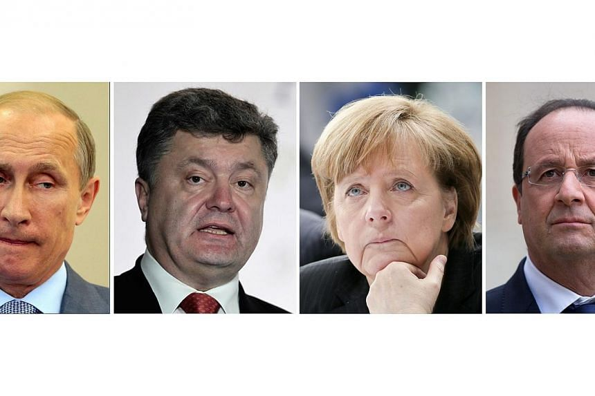 (Left to right) A four-piece composite picture made of file pictures of Russian President Vladimir Putin, Ukrainian President Pedro Porosgenko, German Chancellor Angela Merkel, and French President Francois Hollande. -- PHOTO: EPA