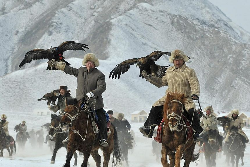 Herdsmen from the Kyrgyz ethnic group holding their falcons as they ride on horses during a hunting competition in Akqi county, Xinjiang, on Feb 1, 2015. -- PHOTO: REUTERS