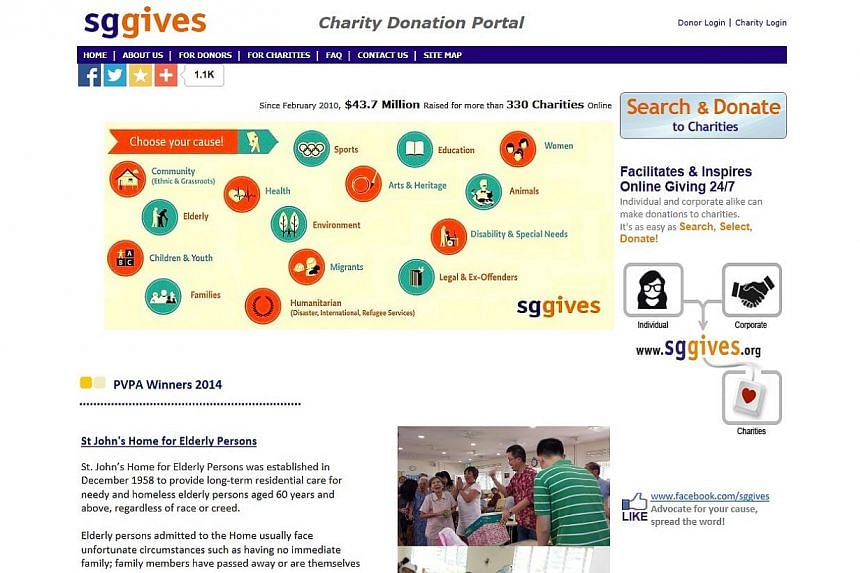 Online donation portal SG Gives collected more that $13 million for the needy in Singapore last year, up from about $11 million in 2013. -- PHOTO: SCREENGRAB FROM SGGIVES.ORG