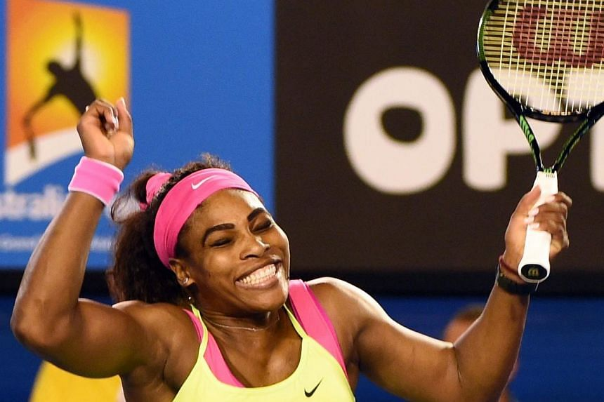 Serena Williams celebrating her victory against Maria Sharapova in the Australian Open final on Jan 31, 2015. -- PHOTO: AFP