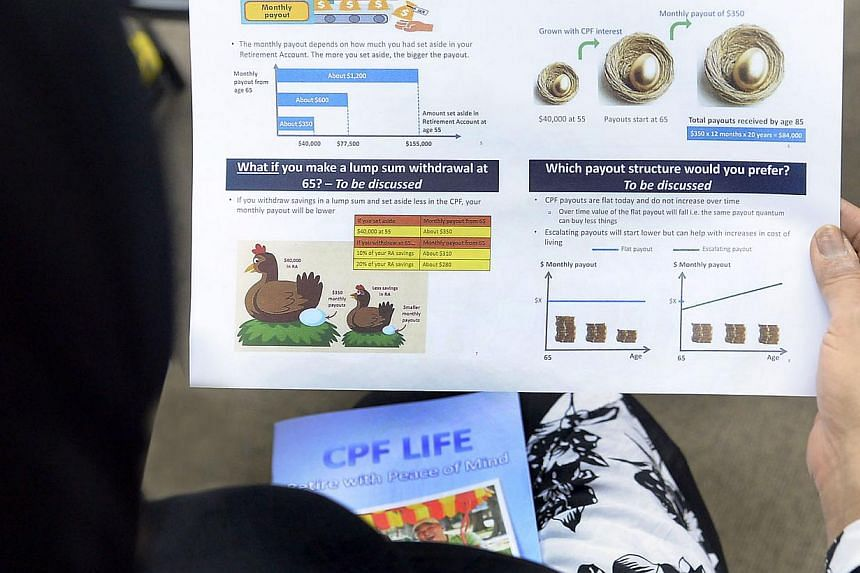 A person looking at a pamphlet on Central Provident Fund. --PHOTO: BERITA HARIAN