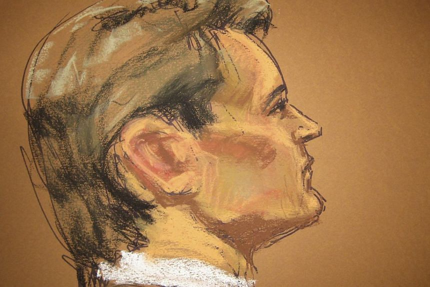 Ross Ulbricht, 30, the suspected operator of the underground website Silk Road, is seen in a courtroom sketch during his trial in Federal Court in New York Feb 4, 2015. -- PHOTO: REUTERS