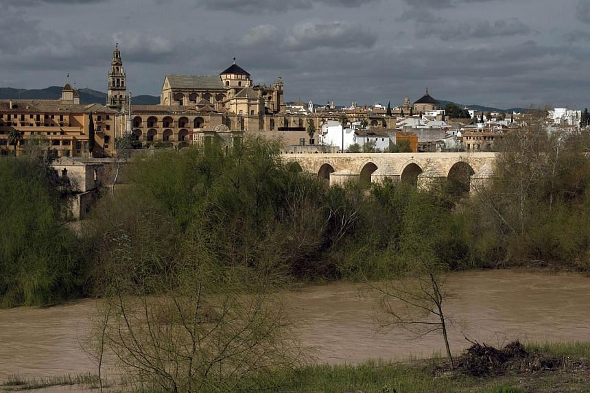 A picture taken on Mar 4, 2014, shows a view of Cordoba and the Mosque-Cathedral of Cordoba. -- PHOTO: AFP