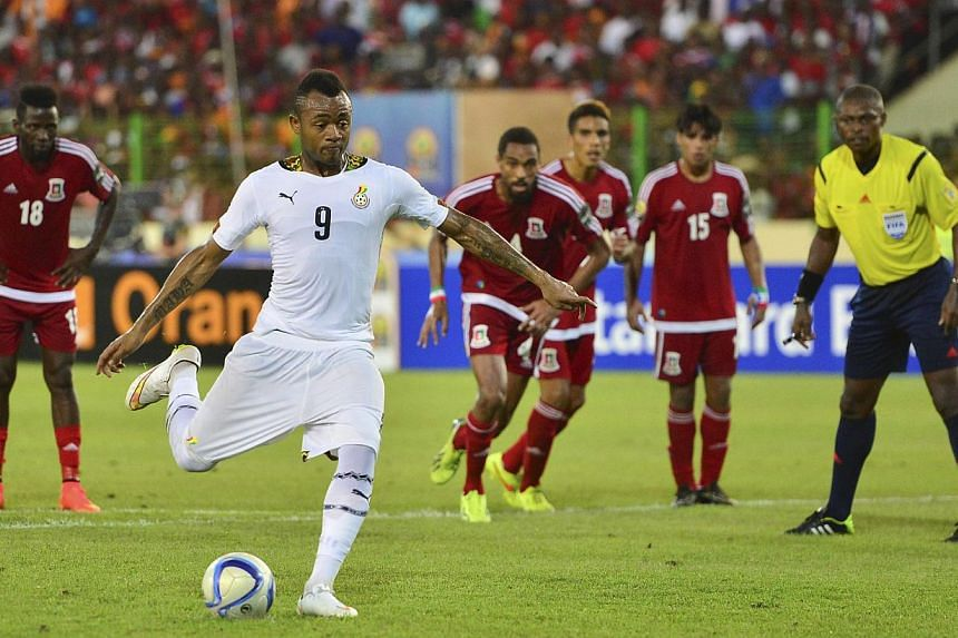 Jordan Ayew of Ghana scores a penalty during the 2015 Africa Cup of Nations semi final match between Ghana and Equatorial Guinea at the Malabo Stadium, Malabo, Equatorial Guinea on Feb 5, 2015. -- PHOTO: EPA