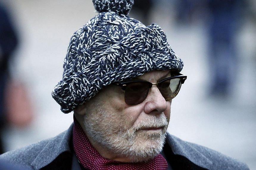 Former British pop star Gary Glitter, whose real name is Paul Gadd, arriving at Southwark Crown Court in London on Jan 13, 2015. -- PHOTO: REUTERS