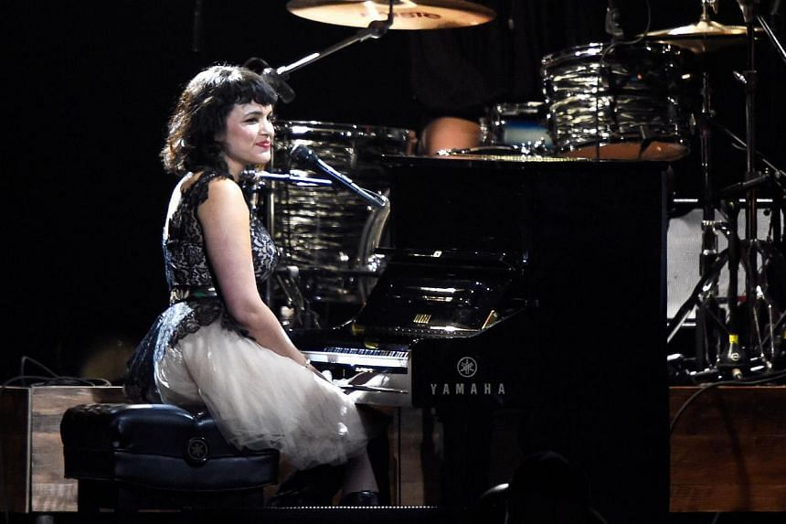 Singer Norah Jones onstage at the 25th anniversary MusiCares 2015 Person Of The Year Gala honoring Bob Dylan at the Los Angeles Convention Center on Feb 6, 2015, in Los Angeles, California. -- PHOTO: AFP