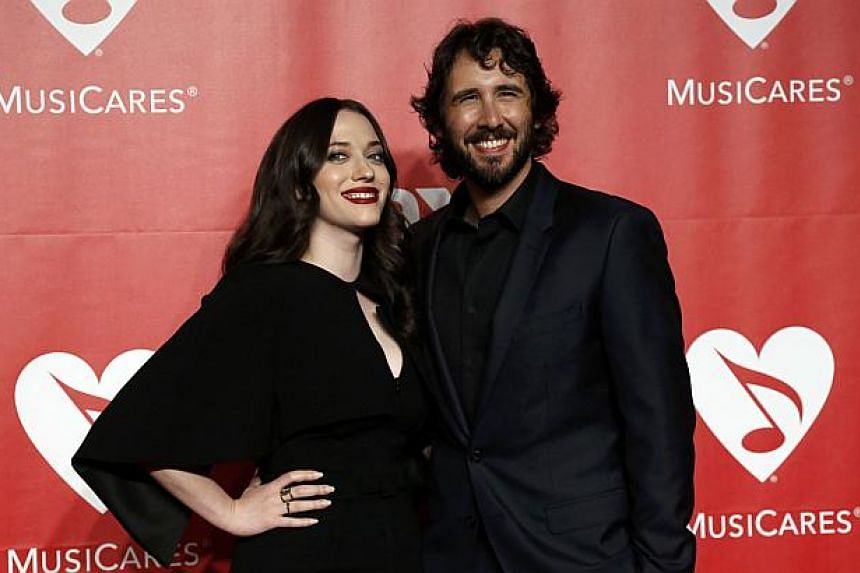 Actress Kat Dennings and musician Josh Groban arrive at the 2015 MusiCares Person of the Year tribute honoring Bob Dylan in Los Angeles, California on Feb 6, 2015. -- PHOTO: REUTERS
