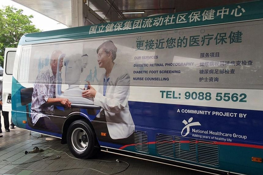 Diabetes patients in areas like Bishan, Toa Payoh, Hougang and Whampoa no longer need to travel to hospitals or polyclinics for eye and foot screenings. -- ST PHOTO: KASH CHEONG