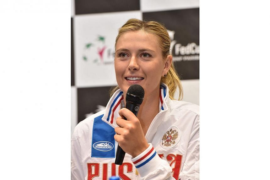 Russian player Maria Sharapova during a press conference in Krakow, Poland on Feb 4, 2015, before the Fed Cup World Group tennis match against Poland. -- PHOTO: EPA