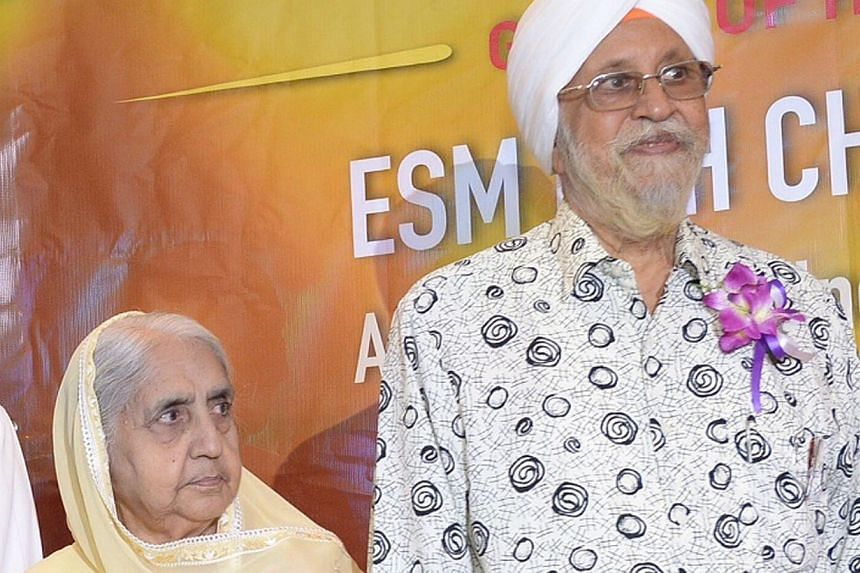 Mr Mahn Singh Bajaj and Madam Suhinder Kaur, who have been married for 67 years, are still shy about their initial impressions of each other. -- ST PHOTO: DESMOND WEE