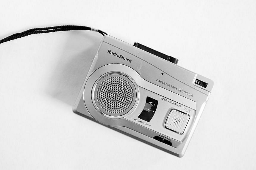 A portable cassette tape recorder bought at RadioShack. -- PHOTO: AFP