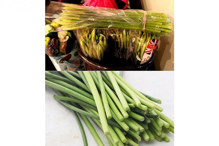 Daffodils (top) have been mistaken for garlic scape (bottom), a Chinese vegetable, but daffodils contain toxins. The National Poisons Information Service of the UK answered 27 calls about daffodil poisoning last year. -- PHOTO: CHINA DAILY