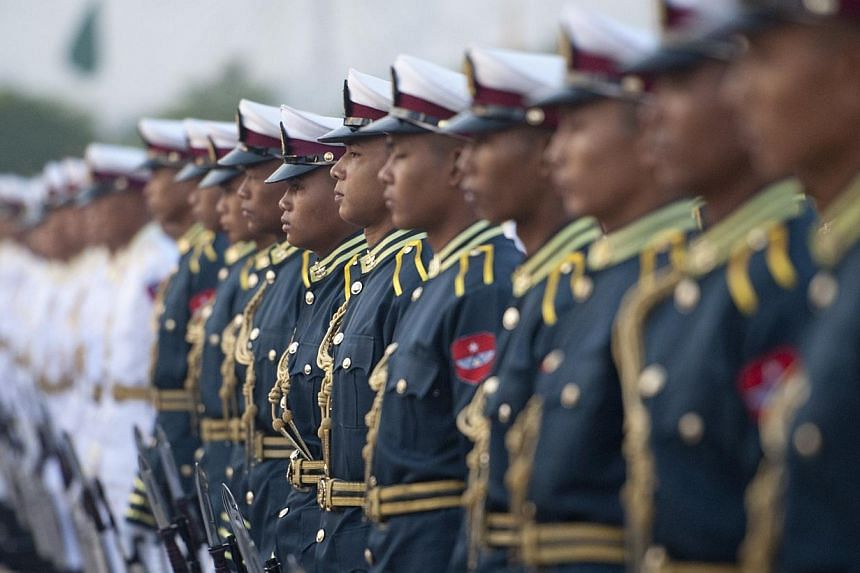 Honour guards attending the 68th Union Day ceremony at City Hall in Naypyidaw, Myanmar, on Feb 12, 2015. -- PHOTO: AFP