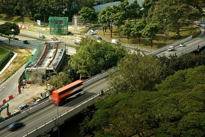 The $29 million project to widen Braddell Road will be delayed by a year, said the Land Transport Authority (LTA), which is looking for a new contractor to finish the works. -- ST PHOTO:KUA CHEE SIONG