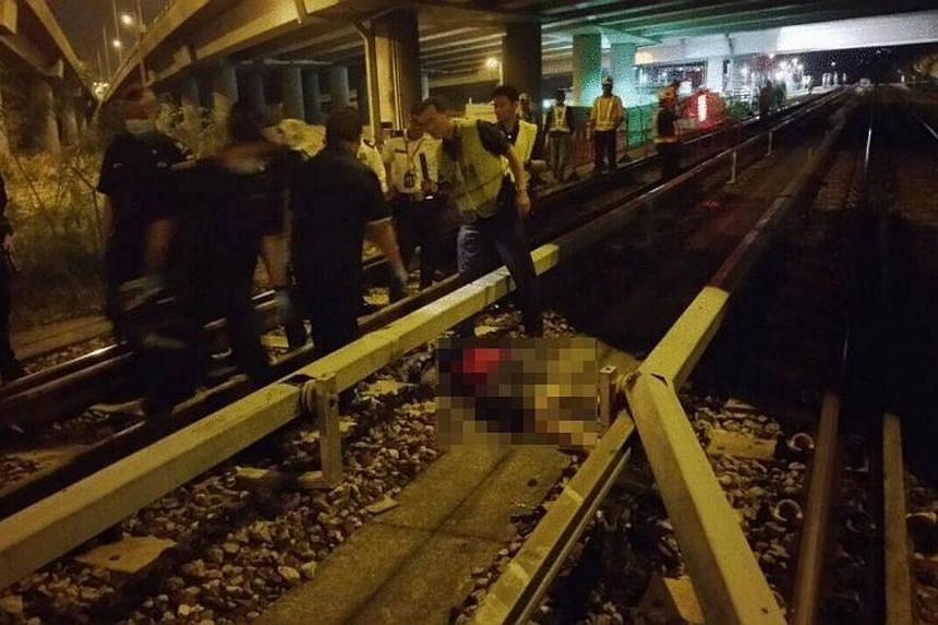 The accident occurred early on Thursday morning along a stretch of the flyover that spans the tracks between Khatib and Yio Chu Kang MRT stations. -- PHOTO: ST READER