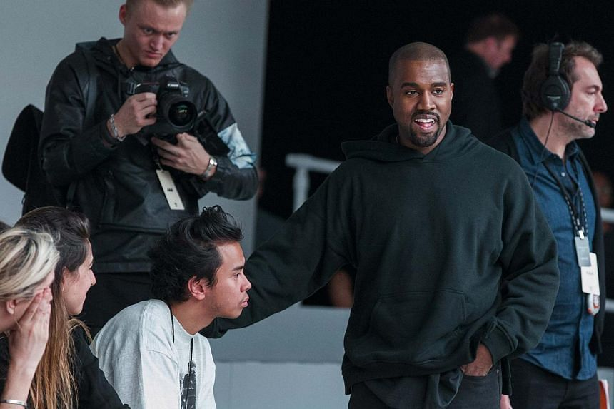 Singer Kanye West before presenting his Fall/Winter 2015 partnership with Adidas at New York Fashion Week on Feb 12, 2015. -- PHOTO: REUTERS