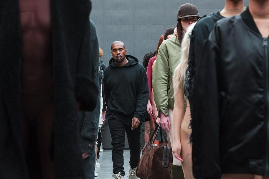 Singer Kanye West after presenting his Fall/Winter 2015 partnership line with Adidas at New York Fashion Week on Feb 12, 2015. -- PHOTO: REUTERS