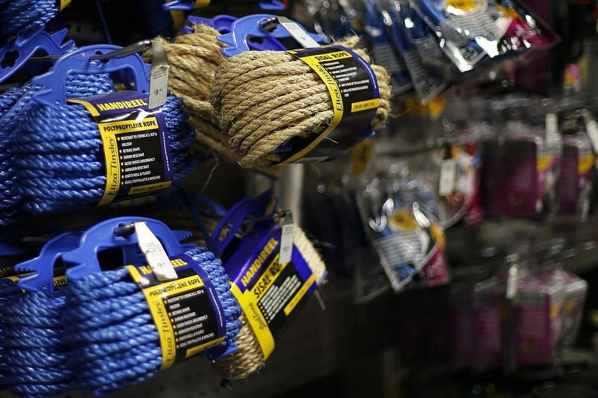 Rope displayed at a B&Q Warehouse hardware shop in London on Feb 10, 2015. Employees have been urged to prepare for a rise in demand for rope, cable ties and tape which could be used in sexual role play in conjunction with the release of the racy