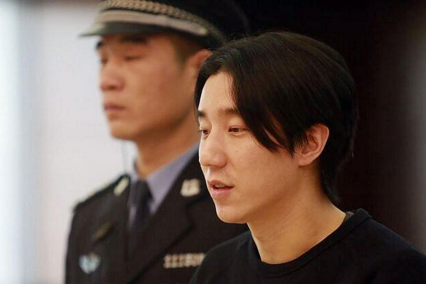 Jaycee Chan, son of gongfu star Jackie Chan, during his trial at the Dongcheng District People's Court in Beijing on Jan 9, 2015. -- PHOTO: AFP/DONGCHENG DISTRICT PEOPLE'S COURT/YAN NAIYI