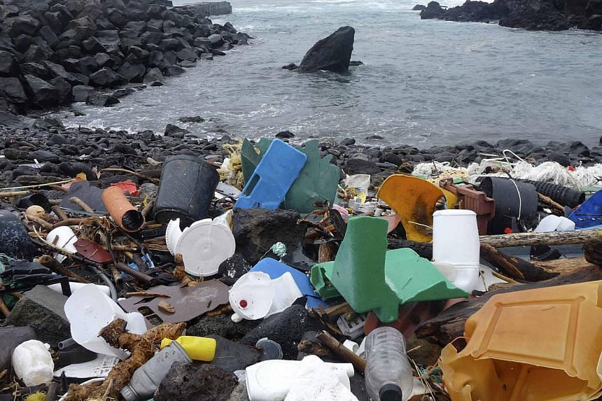 A beach in the Azores is pictured littered with plastic garbage, in this undated handout photo obtained by Reuters on Dec 9, 2014.Shoddy waste management and littering across the globe likely added eight million metric tonnes of plastic to the