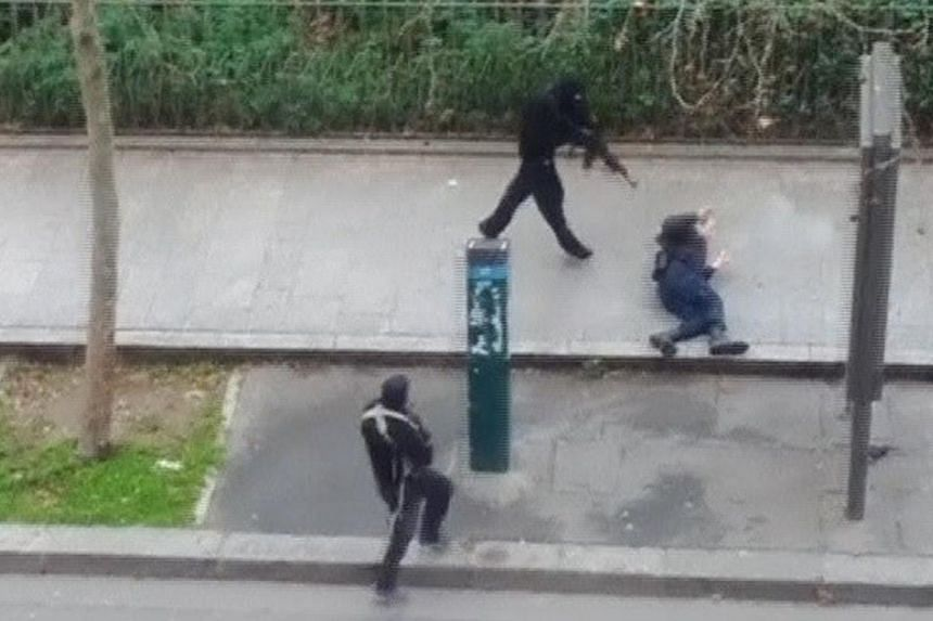 The airing of amateur footage on TV showing the two gunmen shooting a wounded policeman lying in the street outside the newspaper's office was cited as one of the more serious violations. Although France 24 blanked out the moment of the officer's mur
