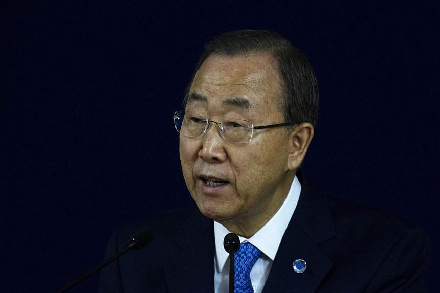 United Nations' Secretary General Ban Ki Moon appealed to Indonesia on Feb 13, 2015, not to execute prisoners on death row for drug crimes. -- PHOTO: AFP