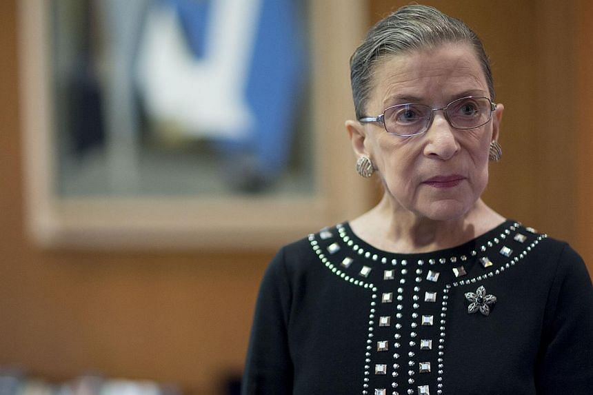 US Supreme Court Justice Ruth Bader Ginsburg in her chambers in Washington, D.C., on Aug 23, 2013. -- PHOTO: BLOOMBERG
