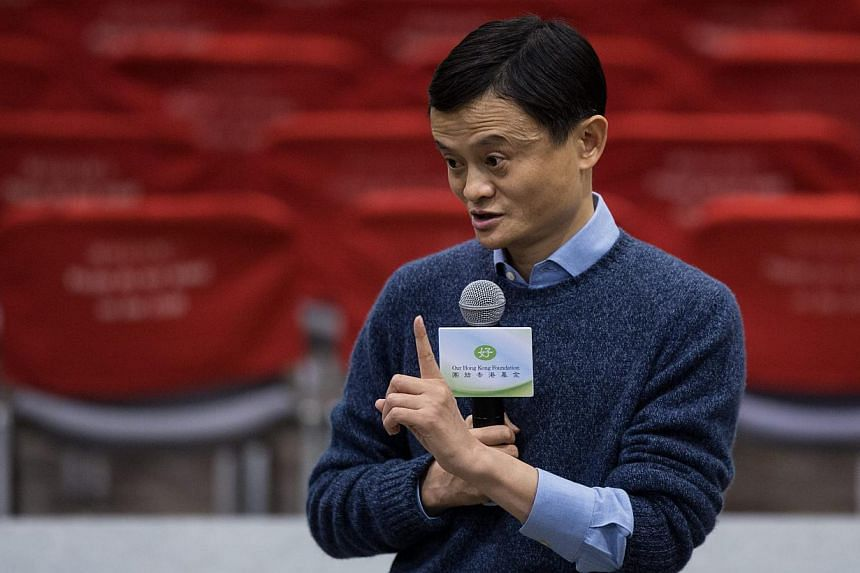 Jack Ma, founder and executive chairman of Alibaba Group, speaking to the media after a forum in Hong Kong, China, on Feb 2, 2015. -- PHOTO: EPA