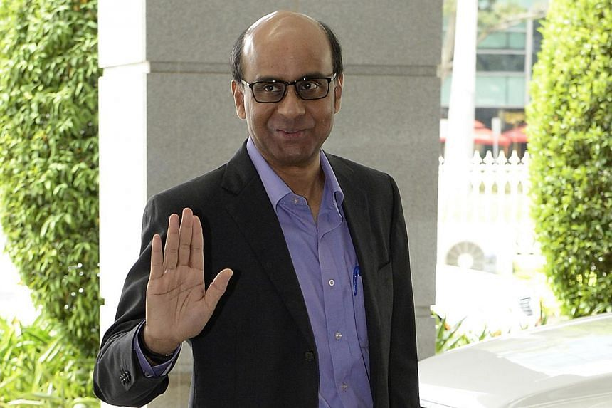 Finance Minister Tharman Shanmugaratnam arriving at Parliament to deliver the Budget speech in February 2014. -- PHOTO: ST FILE