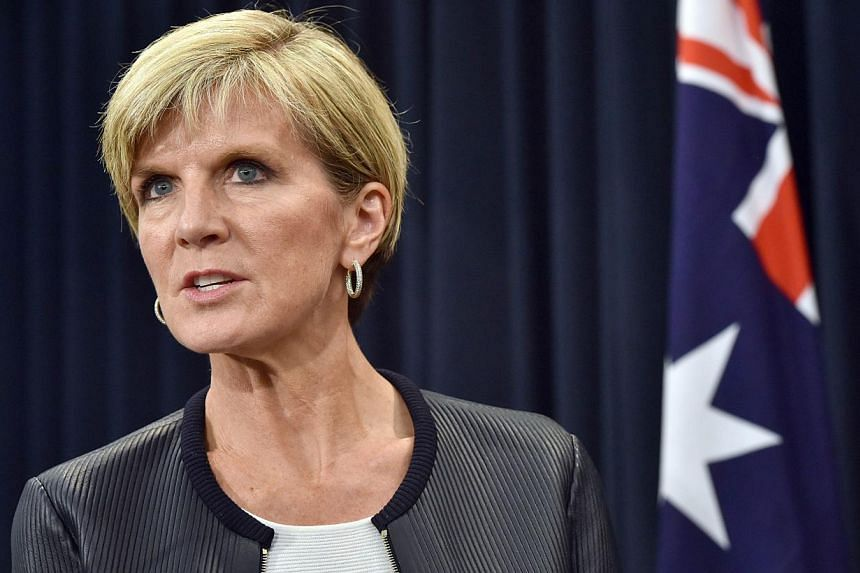 Australian Foreign Minister Julie Bishop speaking at a press conference with Iraq Foreign Minister Ibrahim Al-Jaafari in Canberra on Feb 12, 2015. Ms Bishopreportedly conducted the world's first political emoji interview.-- PHOTO: AFP