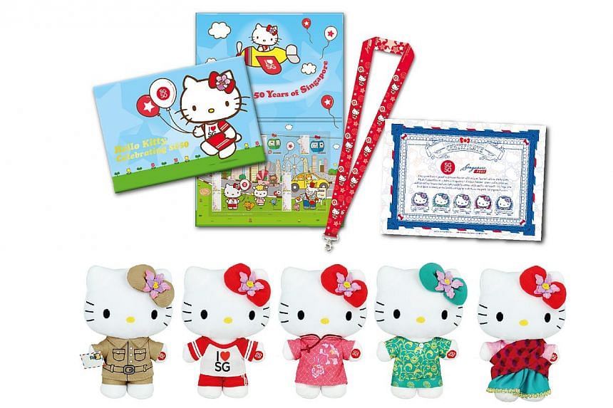 The SG50 Hello Kitty Limited Edition Bundle Set of 5 Plush Collectibles, MyStamp Folder and Lanyard (1,000 sets only). -- PHOTO: SINGPOST