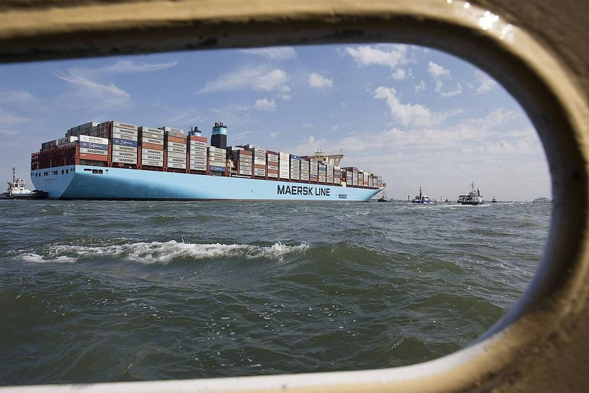 The MV Maersk Mc-Kinney Moller, the world's biggest container ship, arrives at the harbour of Rotterdam in this Aug 16, 2013 file photo. -- PHOTO: REUTERS