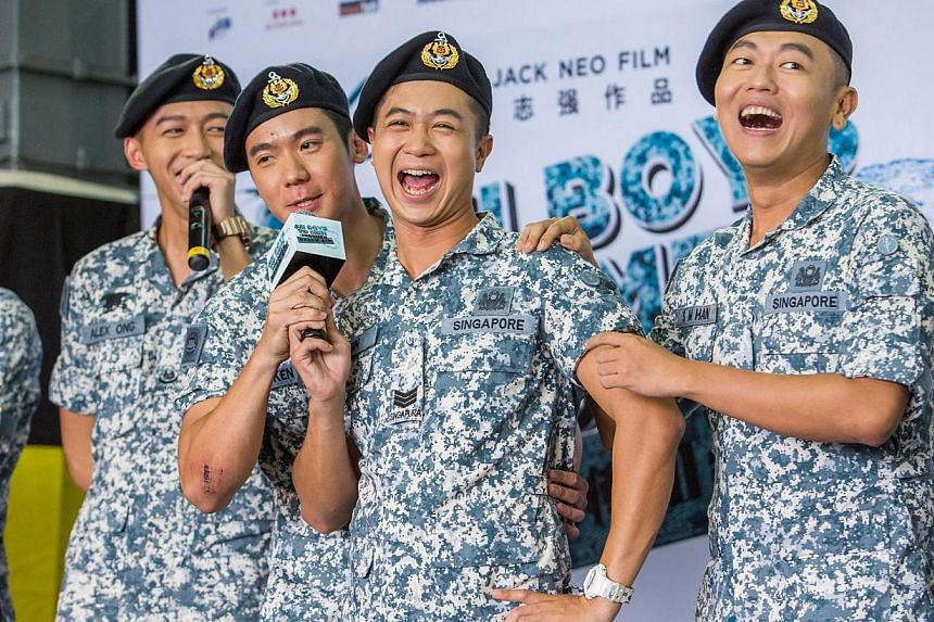 Frogmen cast members (from left) Tosh Zhang, Joshua Tan, Maxi Lim and Jaspers Lai at the press conference for the movie. -- PHOTO: GOLDEN VILLAGE PICTURES