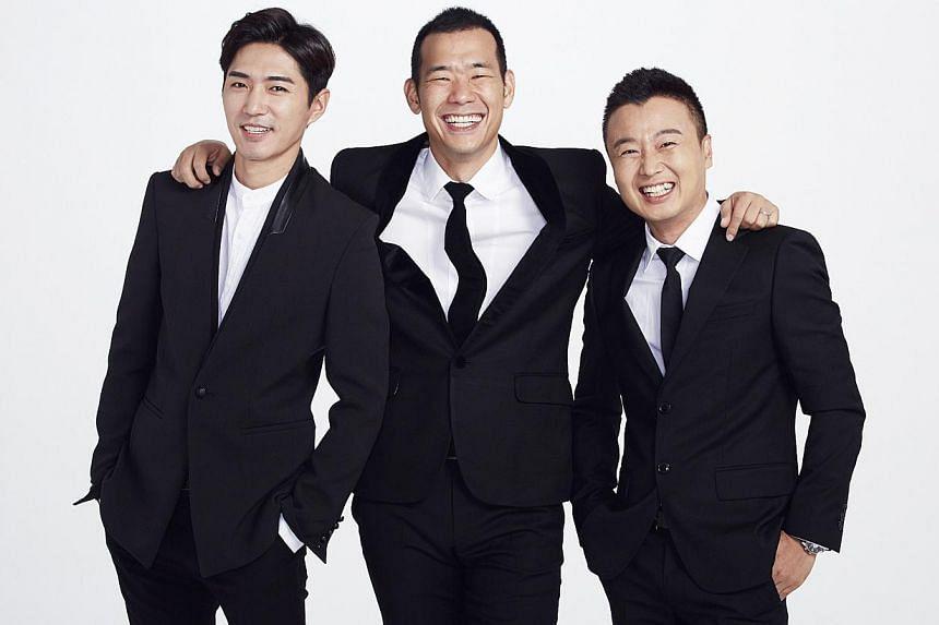 Hosts of Top Gear Korea 6 (from left) Danny Ahn of K-pop band G.O.D., rapper-turned-TV host Kim Jin Pyo and professional car racer Ryu Kyung Wook. -- PHOTO: KIX AND KIX HD