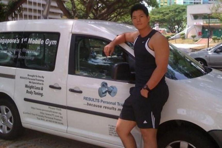 Standing next to his mobile fitness van in 2008. -- PHOTO: COURTESY OF CHUNG TZE KHIT