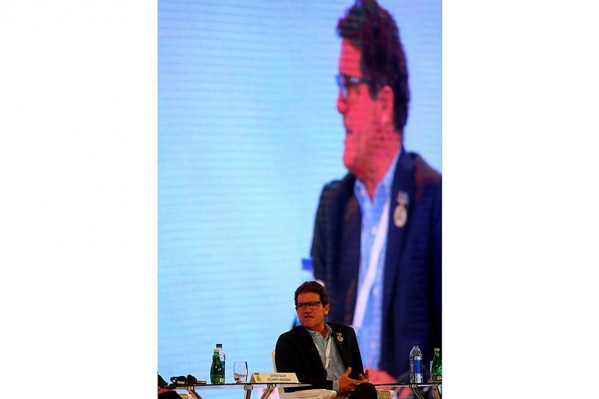 Russian national team manager Fabio Capello speaks during a panel discussion at the 9th Dubai International Sports Conference on Dec 28, 2014 in Dubai.Russian Football Union (RFU) chief Nikolai Tolstykh has admitted that national coach Fabio Ca