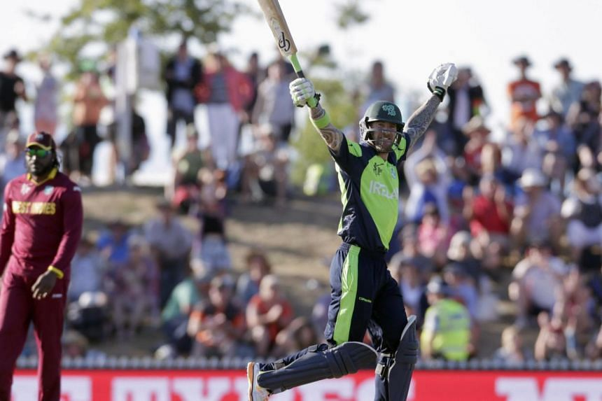 Ireland's John Mooney celebrates hitting the winning runs as they beat the West Indies for the first time in their Cricket World Cup match in Nelson, on Feb 16, 2015.Alarm bells have long been ringing in the Caribbean over the West Indies' chao