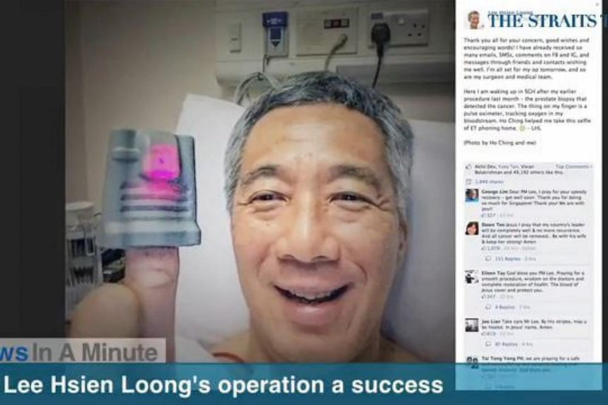 Prime Minister Lee Hsien Loong's surgery to remove his prostate gland was a success and he is expected to recover fully. -- SCREENGRAB FROM RAZORTV