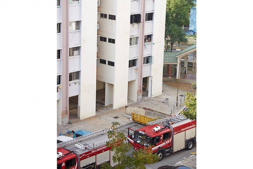 Singapore Civil Defence Force (SCDF) fire engines parked below Block 206 of Tampines Street 21 on Feb 16, 2015. -- PHOTO: MELVIN VIVAS