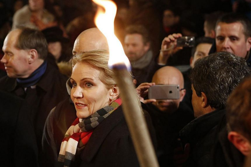 Danish Prime Minister Helle Thorning-Schmidt attending a memorial ceremony after terror attacks shocked the Nordic nation, in Copenhagen, Denmark, on Feb 16, 2015. -- PHOTO: EPA