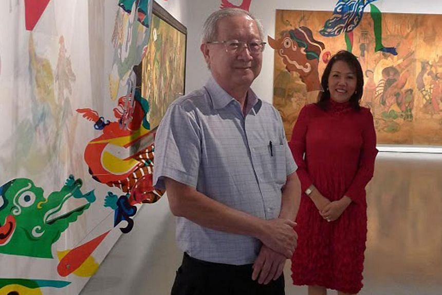 Collectors Koh Seow Chuan and Linda Neo (both above) in front of Tumadi Patri's The Journey Of Pak Dalang, 2014, and Issues And Emotions, 1995, an artwork by Mohammad Din Mohammad. -- PHOTO: DEEPIKA SHETTY