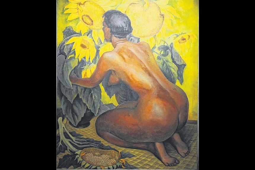 The Nude With Sunflowers (above), an iconic painting, is a reflection of many of the influences on Rivera's art. -- PHOTO: COLLECTION OF THE GOVERNMENT OF THE STATE OF VERACRUZ/IVEC/MAEV