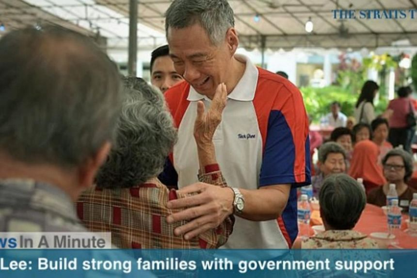 In today's News In A Minute, we look at PM Lee Hsien Loong urging Singaporeans not to overlook the importance of strong families and a united society.-- SCREENGRAB FROM RAZORTV