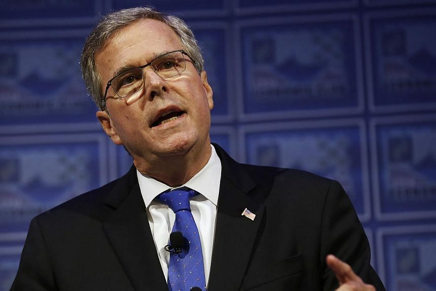 Former Florida Governor Jeb Bush speaking at the Detroit Economic Club on Feb 4, 2015. -- PHOTO: REUTERS